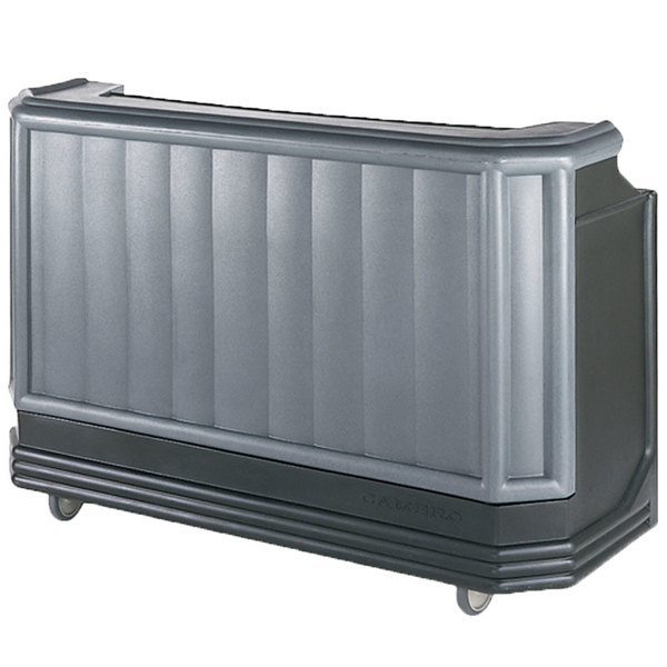 """Cambro BAR730PM420 Granite Gray and Black Cambar 73"""" Post-Mix Portable Bar with 7 Bottle Speed Rail, Cold Plate, and Soda Gun"""
