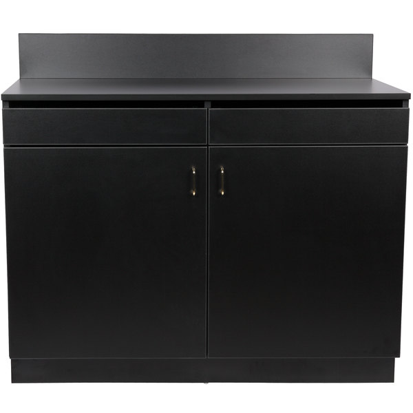 """48"""" Black Waitress Station with 2 Drawers, 2 Adjustable Shelves, and 2 Doors"""
