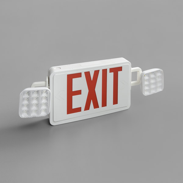 Lavex Industrial Red LED Exit Sign / Emergency Light Combo with Adjustable  Arrows and Ni-Cad Battery Backup - 4 2 Watt Unit