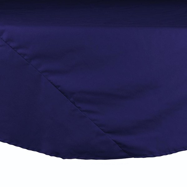 132 inch Navy Blue Round Hemmed Polyspun Cloth Table Cover