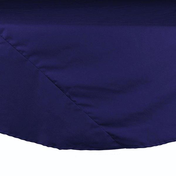 "132"" Navy Blue Round Hemmed Polyspun Cloth Table Cover"