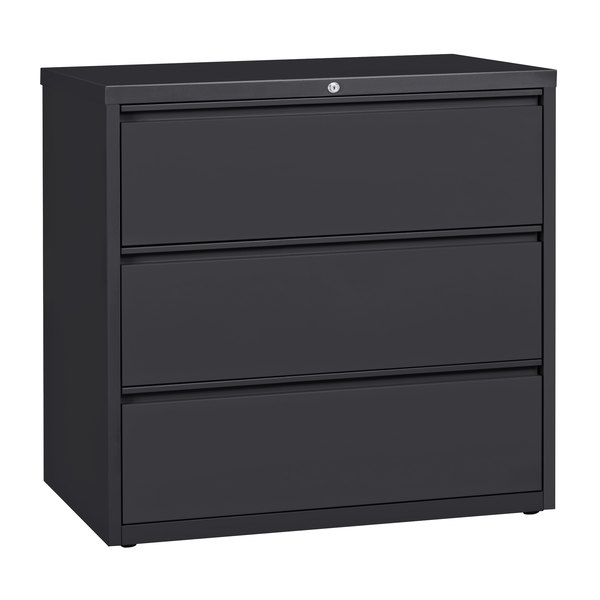 Hirsh Industries 17646 Charcoal Three-Drawer Lateral File Cabinet - 42 inch x 18 5/8 inch x 40 1/4 inch