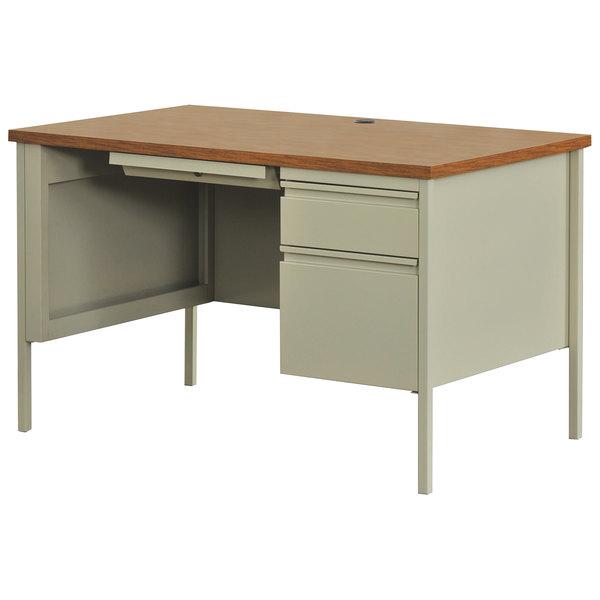 Hirsh Industries 20091 Putty / Oak Single Pedestal Desk - 48 inch x 30 inch x 29 1/2 inch