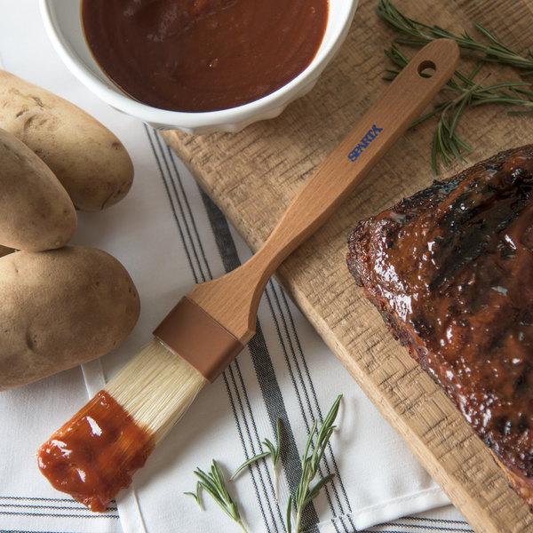 "Carlisle 4037700 Sparta Spectrum Chef Series 1 1/2""W Boar Bristle Pastry/Basting Croissant Brush with Long Bristles"