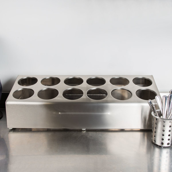 Steril-Sil TC-12 Countertop Stainless Steel 12-Cylinder Flatware Organizer Main Image 8