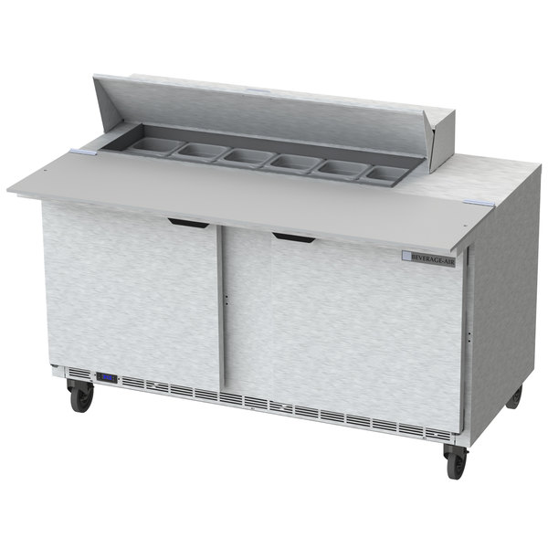 """Beverage-Air SPE60HC-12C 60"""" 2 Door Cutting Top Refrigerated Sandwich Prep Table with 17"""" Wide Cutting Board"""