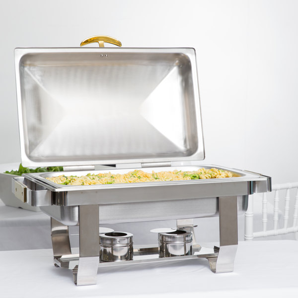Choice Supreme 9 Qt. Full Size Hinged Top Gold Accent Chafer