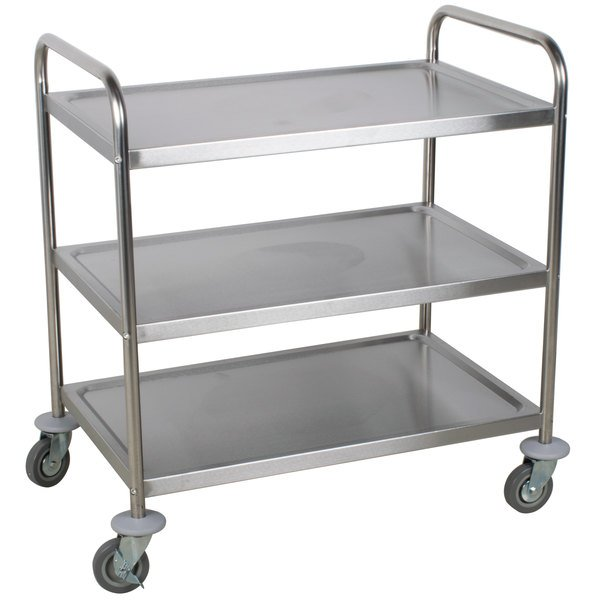 Choice 33 3/4 inch x 21 inch x 37 inch Knocked Down 18 Gauge Stainless Steel 3 Shelf Utility Cart