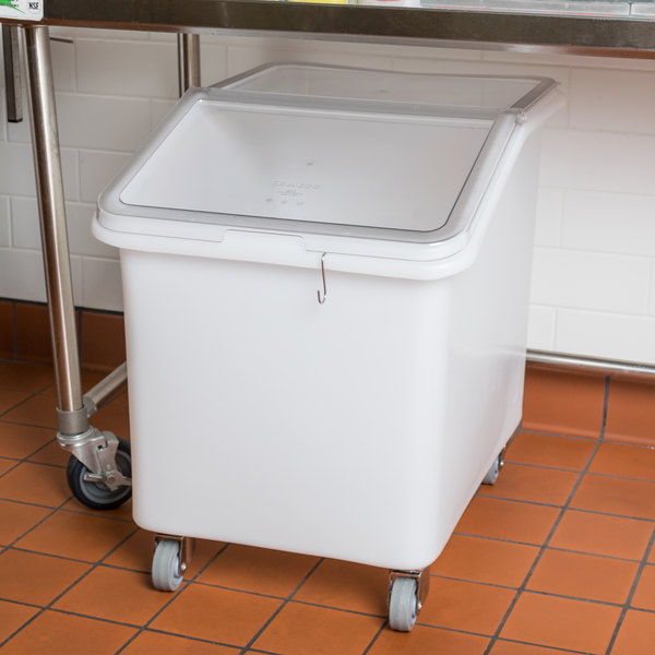 Cambro IBS37148 37 Gallon / 590 Cup White Slant Top Mobile Ingredient Storage Bin with 2-Piece Sliding Lid & S-Hook Main Image 2