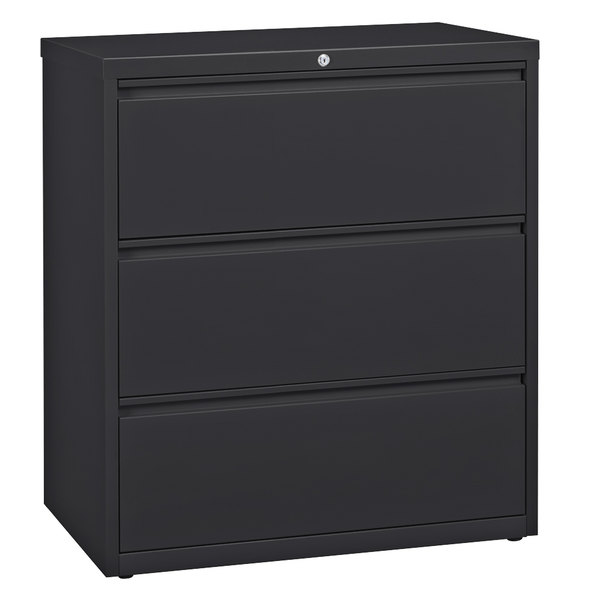 Hirsh Industries 17636 Charcoal Three-Drawer Lateral File Cabinet - 36 inch x 18 5/8 inch x 40 1/4 inch