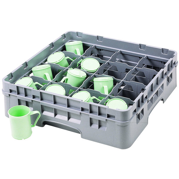 "Cambro 16C414151 Camrack 4 1/4"" Soft Gray Customizable 16 Compartment Full Size Cup Rack"