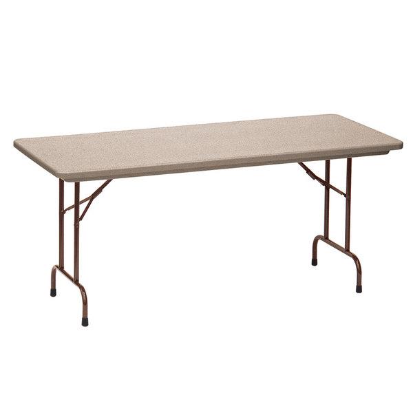 "Correll Folding Table, 30"" x 60"" Tamper-Resistant Plastic, Mocha Granite - RX3060"