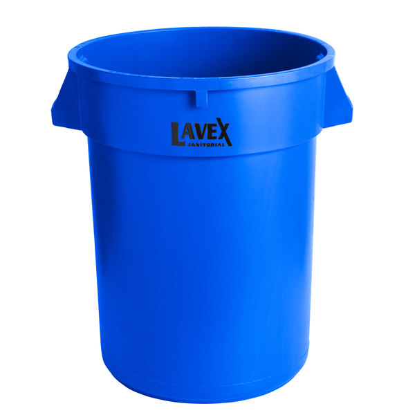 Lavex Janitorial 32 Gallon Blue Round Commercial Trash Can