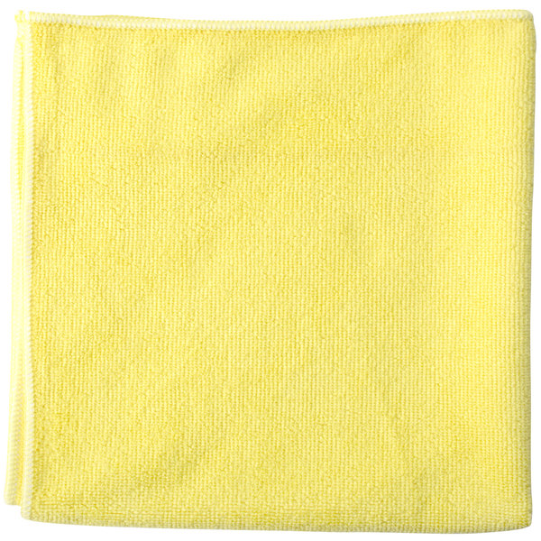 """Unger MF40J SmartColor MicroWipe 16"""" x 15"""" Yellow Heavy-Duty Microfiber Cleaning Cloth - 10/Pack"""