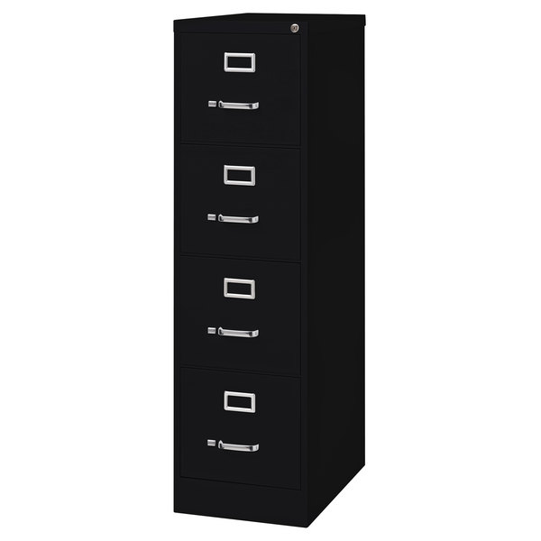"Hirsh Industries 17546 Black Four-Drawer Vertical Letter File Cabinet - 15"" x 25"" x 52"""