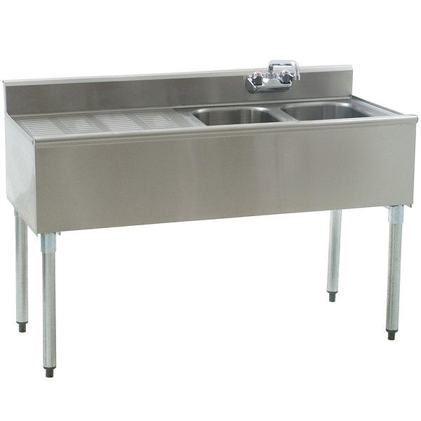 """Eagle Group B4L-2-18 Compartment Underbar Sink with 24"""" Left Drainboard and Splash Mount Faucet - 48"""""""