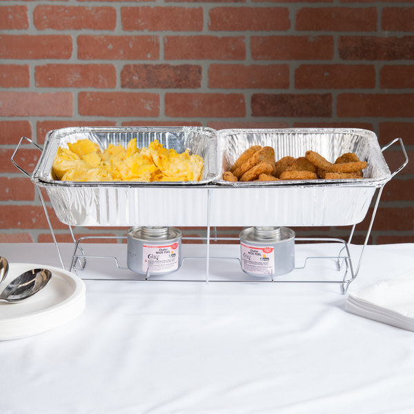 Choice 144 Piece Full Size Disposable Buffet Serving Set / Chafer Dish Kit with Wick Fuel