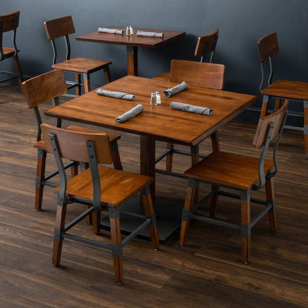 "Lancaster Table & Seating 36"" x 36"" Solid Wood Live Edge Dining Height Table and 4 Chairs with Antique Walnut Finish"