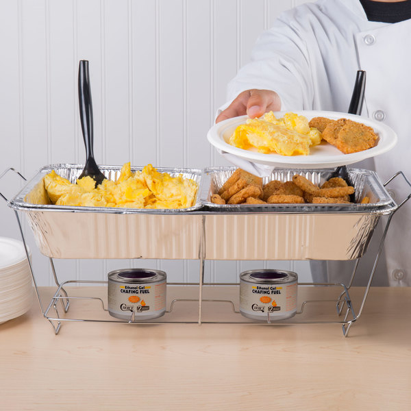 Choice 30 Piece Full Size Disposable Buffet Serving Set / Chafer Dish Kit with Serving Utensils and 6HR Wick Fuel