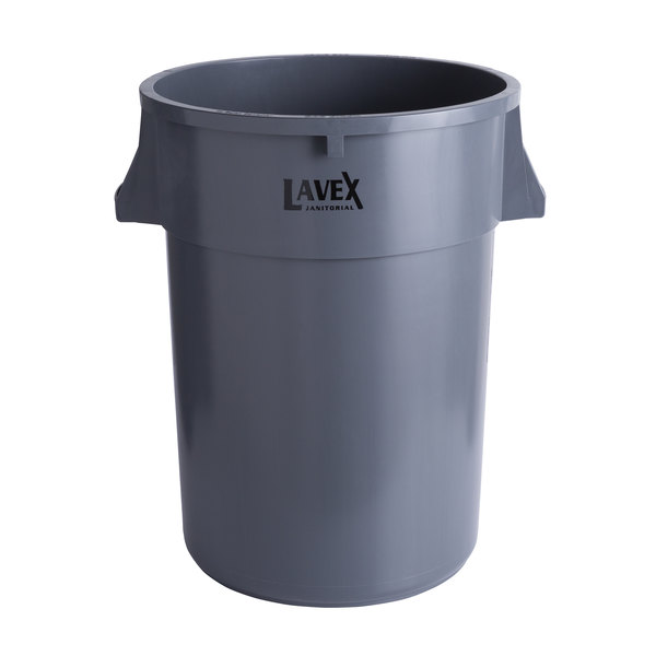 Lavex Janitorial 44 Gallon Gray Round Commercial Trash Can