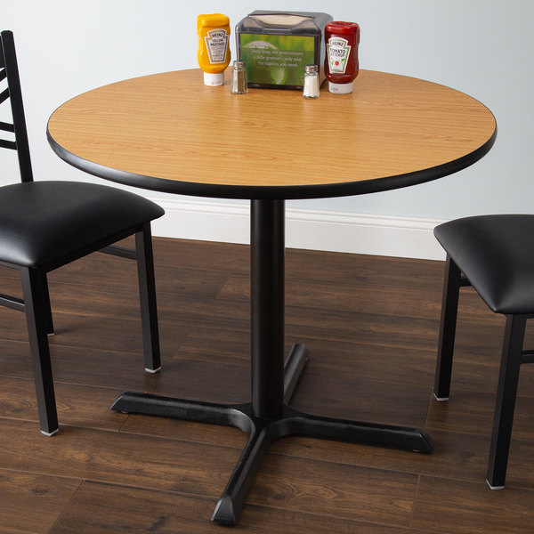 Lancaster Table Seating Standard Height With 36 Round Reversible Walnut Oak Top And Cross Base Plate - What Height Chairs For 36 Inch Table