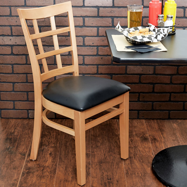 "Lancaster Table & Seating Natural Wooden Window Back Chair with 2 1/2"" Padded Seat Main Image 3"