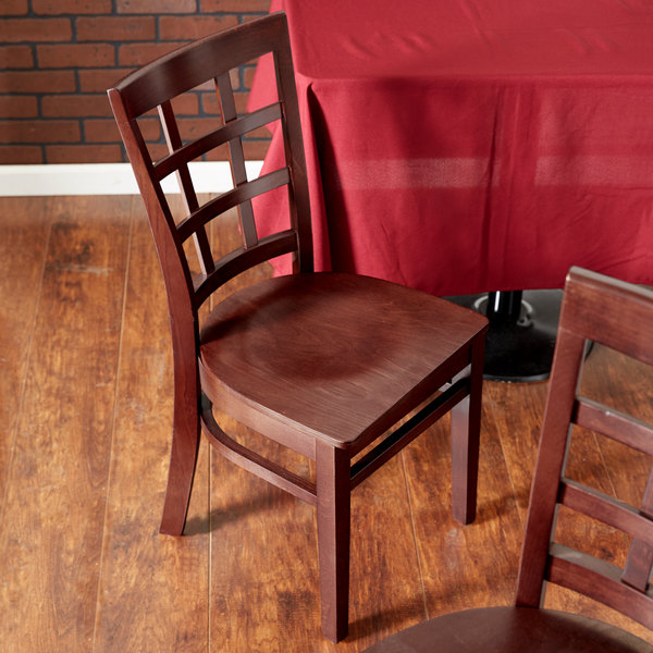 Detached Seat Lancaster Table & Seating Mahogany Finish Wooden Window Back Cafe Chair