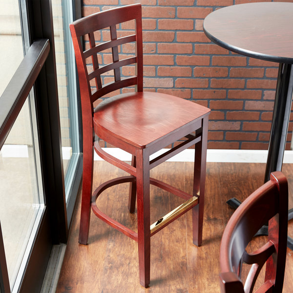 Detached Seat Lancaster Table & Seating Mahogany Finish Wooden Window Back Bar Height Chair