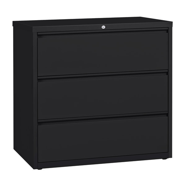 Hirsh Industries 17644 Black Three-Drawer Lateral File Cabinet - 42 inch x 18 5/8 inch x 40 1/4 inch