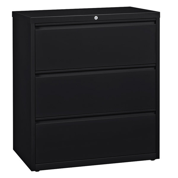 Hirsh Industries 17634 Black Three-Drawer Lateral File Cabinet - 36 inch x 18 5/8 inch x 40 1/4 inch