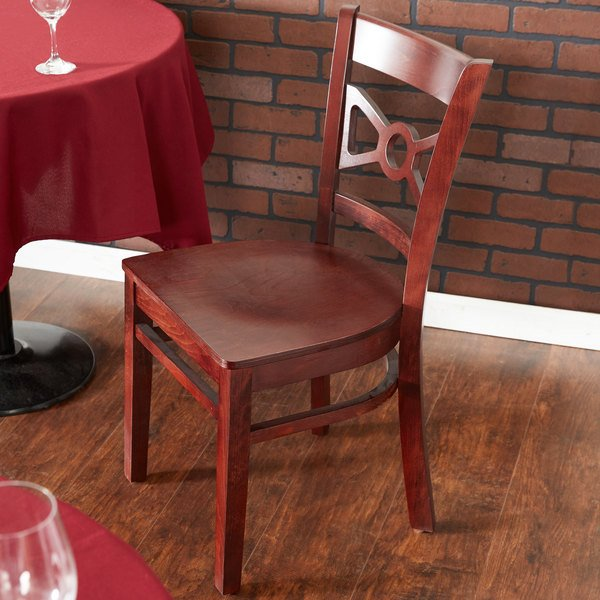 Lancaster Table & Seating Mahogany Finish Wooden Bow Tie Back Cafe Chair Main Image 4