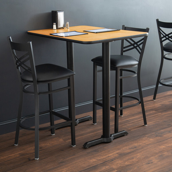 Pleasing Lancaster Table And Seating Bar Height Table With 30 X 42 Reversible Walnut Oak Table Top And Straight Base Plates Machost Co Dining Chair Design Ideas Machostcouk