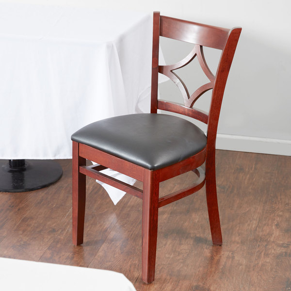 "Lancaster Table & Seating Mahogany Diamond Back Chair with 2 1/2"" Padded Seat Main Image 4"