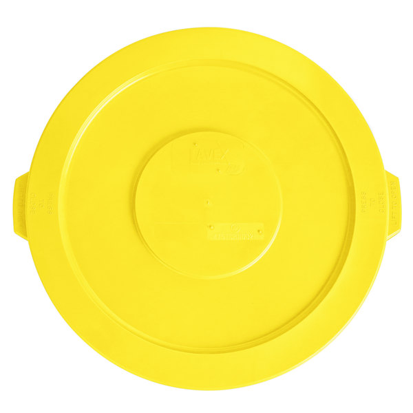 Lavex Janitorial 32 Gallon Yellow Round Commercial Trash Can Lid