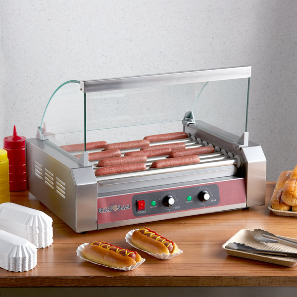 Grand Slam 24 Hot Dog Roller Grill with 9 Rollers and Sneeze Guard - 110V, 1350W Main Image 4