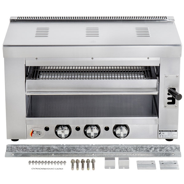 Cooking Performance Group S-36-SB-L 36 inch Liquid Propane Infrared Salamander Broiler with Wall Mounting Bracket - 36,000 BTU