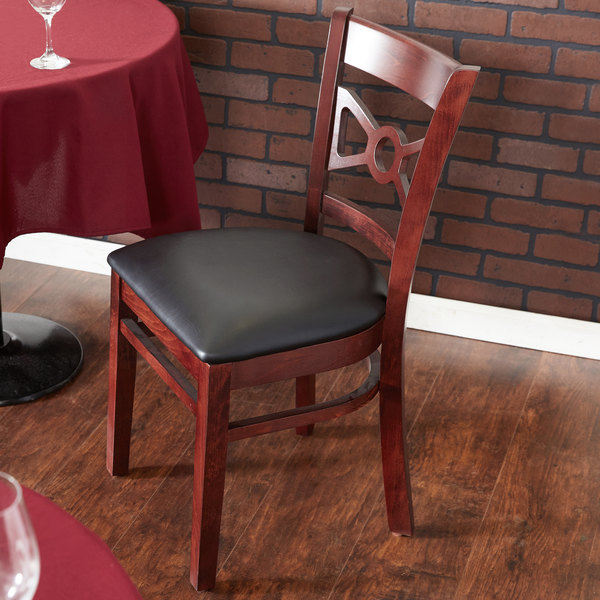 "Lancaster Table & Seating Mahogany Bow Tie Back Chair with 2 1/2"" Padded Seat Main Image 4"