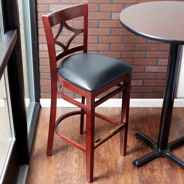 "Lancaster Table & Seating Mahogany Diamond Back Bar Height Chair with 2 1/2"" Padded Seat"