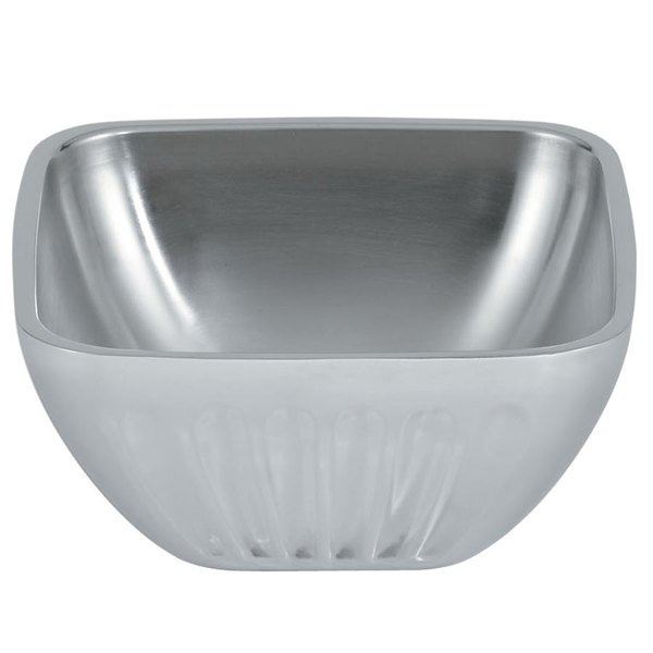 Vollrath 47680 24 oz. Double Wall Square Fluted Serving Bowl