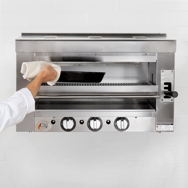 "Cooking Performance Group S-36-SB-N 36"" Natural Gas Infrared Salamander Broiler with Wall Mounting Bracket - 36,000 BTU Main Image 3"