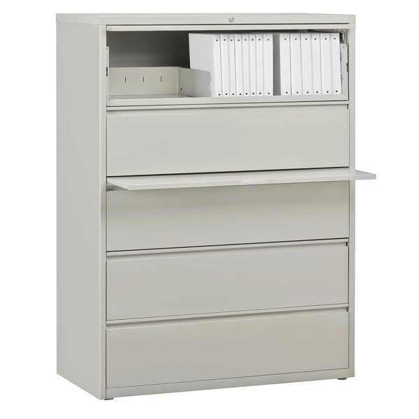 Hirsh Industries 17650 Gray Five Drawer Lateral File Cabinet With Roll Out Binder Storage 42 X