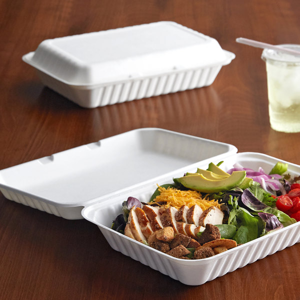 "EcoChoice 9"" x 12"" x 3"" Bagasse 1 Compartment Takeout Container - 75/Pack Main Image 4"