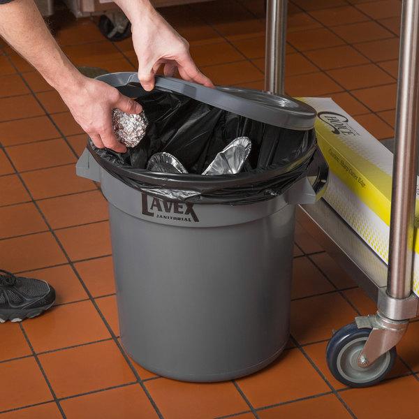 Lavex Janitorial 10 Gallon Gray Round