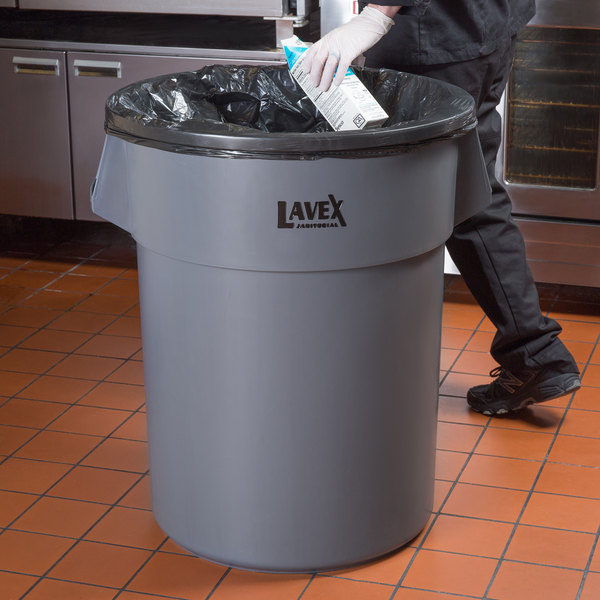Lavex Janitorial 55 Gallon Gray Round Commercial Trash Can