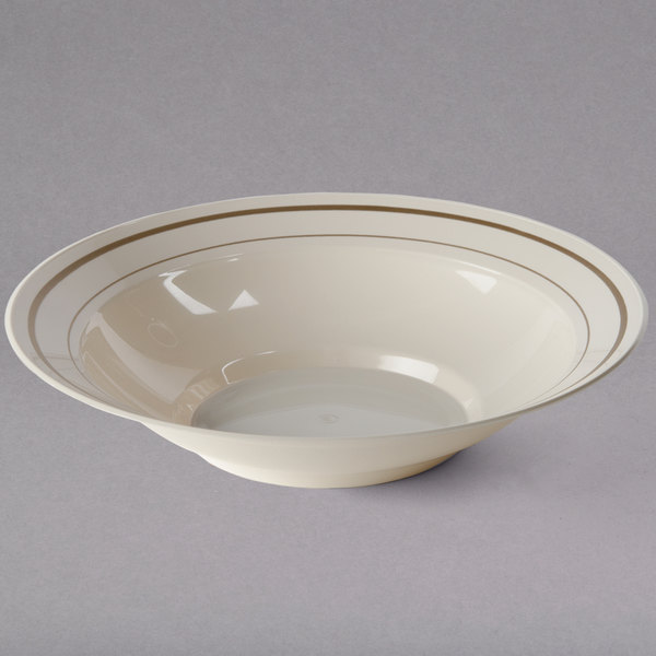 WNA Comet MPBWL10IPREM 10 oz. Ivory Masterpiece Bowl with Gold Accent Bands - 15/Pack Main Image 1
