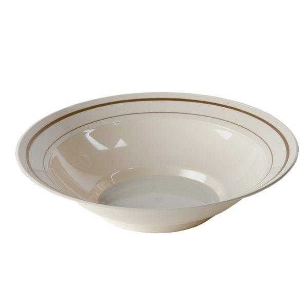 WNA Comet MPBWL10IPREM 10 oz. Ivory Masterpiece Bowl with Gold Accent Bands - 15/Pack