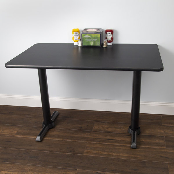 """Lancaster Table & Seating Standard Height Table with 30"""" x 42"""" Reversible Cherry / Black Table Top and Straight Base Plates Main Image 4"""