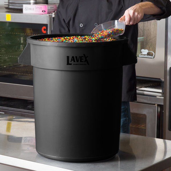 Lavex Janitorial 20 Gallon Black Round Commercial Trash Can