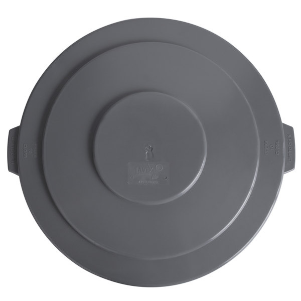 Lavex Janitorial 55 Gallon Gray Round Commercial Trash Can Lid