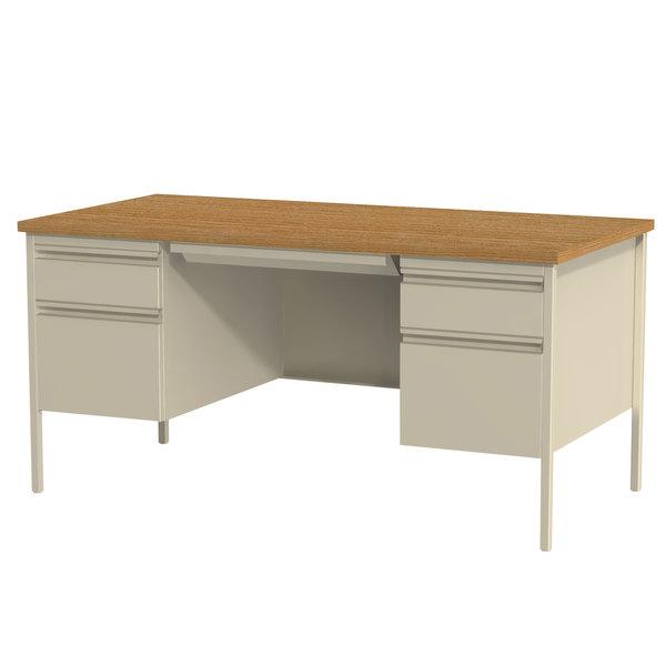 Hirsh Industries 20100 Putty / Oak Double Pedestal Desk - 60 inch x 30 inch x 29 1/2 inch
